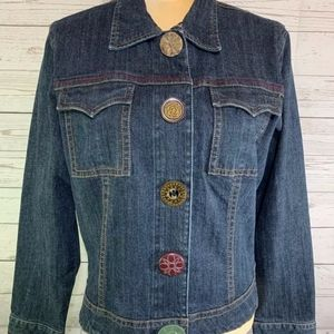 CAbi jean jacket with decorative button snap